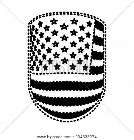 emblem with flag united states of america black silhouette on white background vector illustration