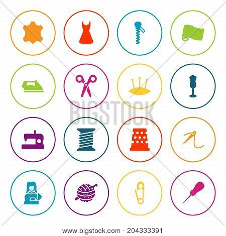Collection Of Mannequin, Roll, Clothier And Other Elements.  Set Of 16 Stitch Icons Set.