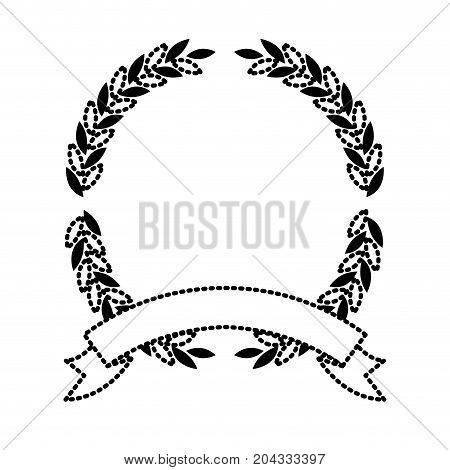 olive branches in black silhouette dotted forming a circle with thick ribbon on bottom vector illustration