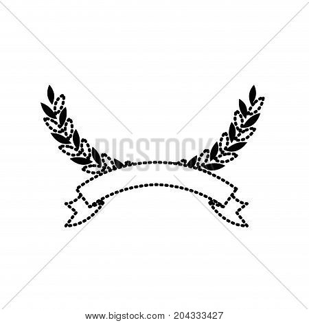 olive arch in black silhouette dotted with ribbon on bottom vector illustration