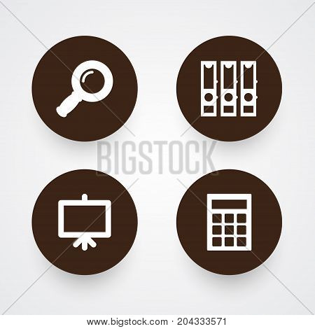 Collection Of Calculate, Zoom Glasses, Whiteboard And Other Elements.  Set Of 4 Instruments Icons Set.
