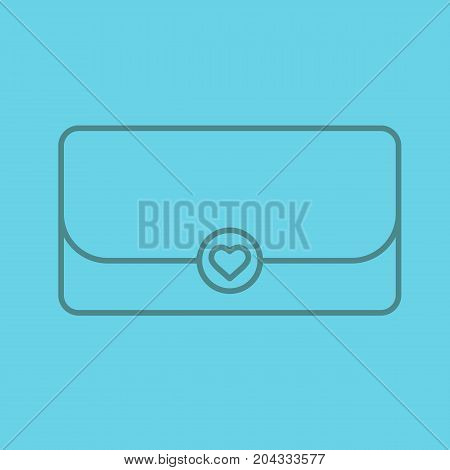 Clutch bag linear icon. Thin line outline symbols on color background. Vector illustration