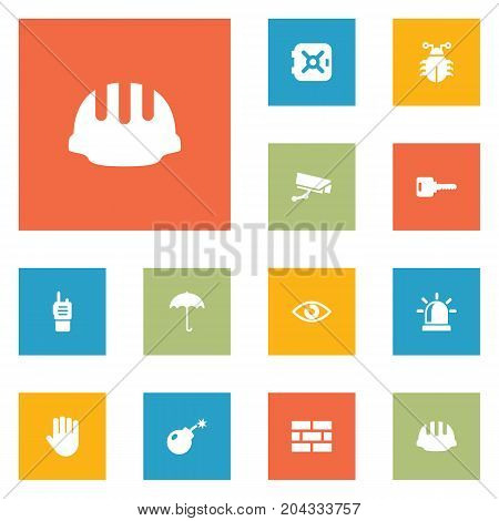 Collection Of Look, Surveillance, Hardhat And Other Elements.  Set Of 12 Procuring Icons Set.