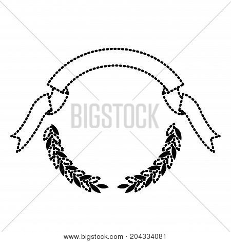 black silhouette dotted olive branches and ribbon on top vector illustration