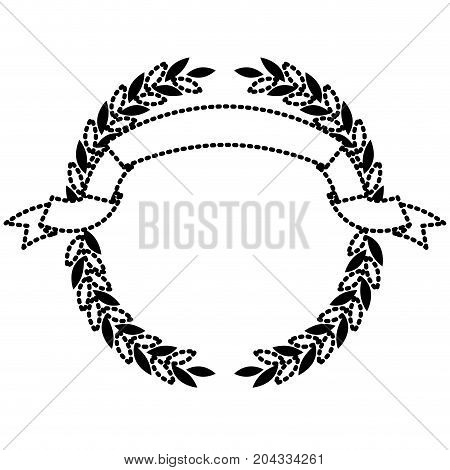 black silhouette dotted olive branches forming a circle with ribbon on top vector illustration