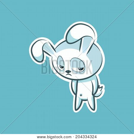 Sticker emoji emoticon, emotion depression, resentment, view from under forehead vector character sweet, cute white rabbit, bunny, hare, coney, cony, lapin for happy Easter mobile app