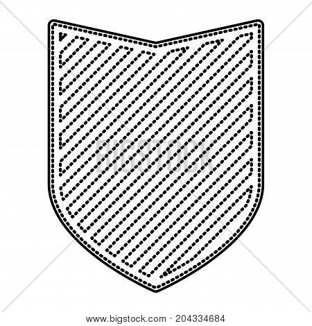 shield in monochrome dotted contour and striped vector illustration