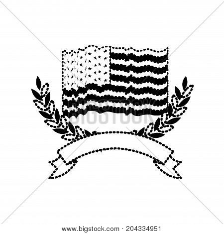 united states flag waving with olive arch branches with ribbon on bottom in monochrome dotted silhouette vector illustration