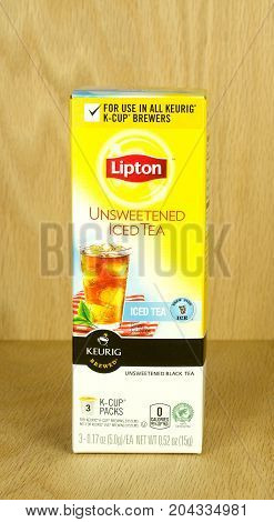 RIVER FALLS,WISCONSIN-SEPTEMBER 15,2017: A box of Lipton tea K-Cups with a wood background.