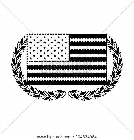 united states flag waving with olive half crown in monochrome dotted silhouette vector illustration