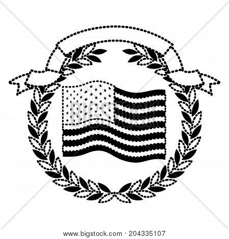 united states flag waving with olive branch crown and ribbon on top in monochrome dotted silhouette vector illustration