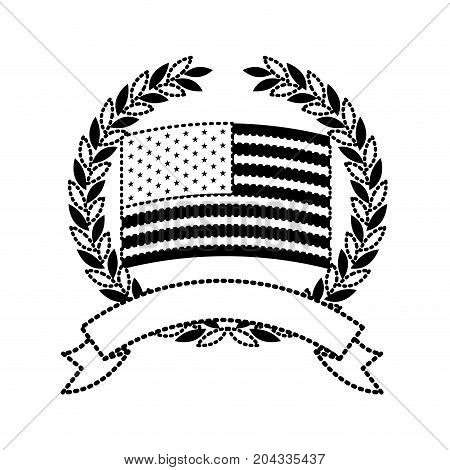 united states flag inside of circle of olive branches with ribbon on bottom in monochrome dotted silhouette vector illustration