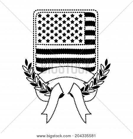 united states flag in shape of square with olive crown and ribbon on bottom in monochrome dotted silhouette vector illustration