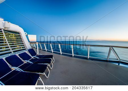 on the cruise ship in the sea