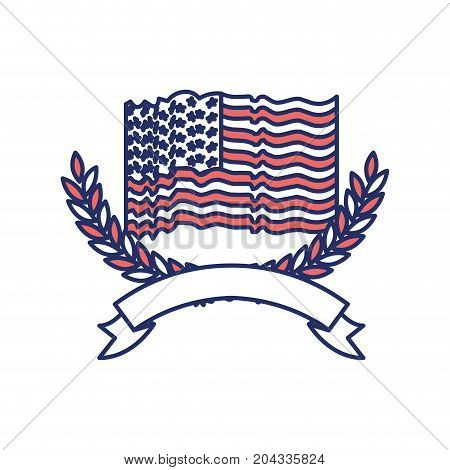 united states flag waving with olive arch branches with ribbon on bottom in color sections silhouette vector illustration