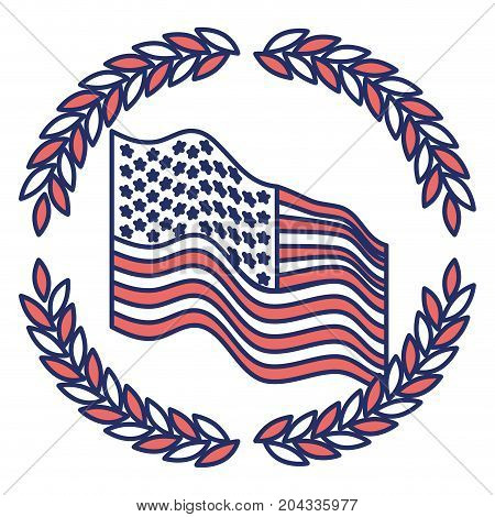united states flag waving with olive branches forming circle on color sections silhouette vector illustration