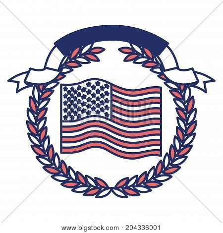 united states flag waving with olive branch crown and ribbon on top in color sections silhouette vector illustration