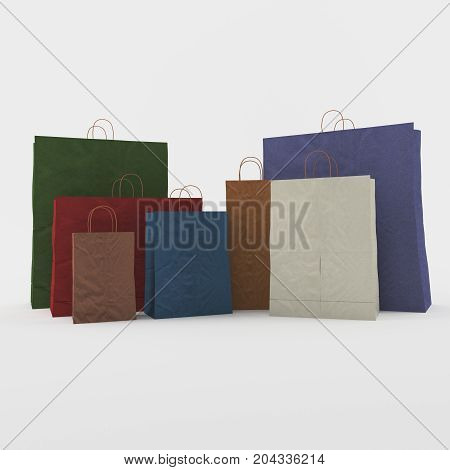 paper bags used to store purchases in supermarkets or department stores.