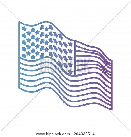 flag united states of america waving side in color gradient silhouette from purple to blue vector illustration