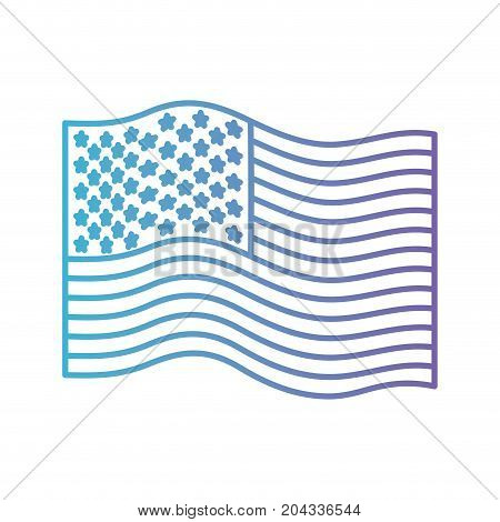 flag united states of america wave in color gradient silhouette from purple to blue vector illustration