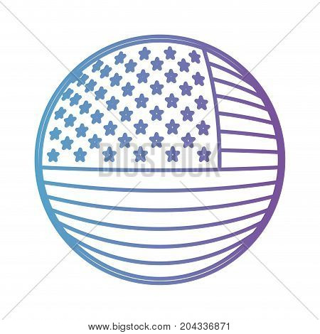 shield in circular shape with flag united states of america in color gradient silhouette from purple to blue vector illustration