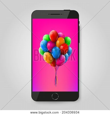 Mobile phone with balloons branch. Gift or celebration concept. Vector illustration