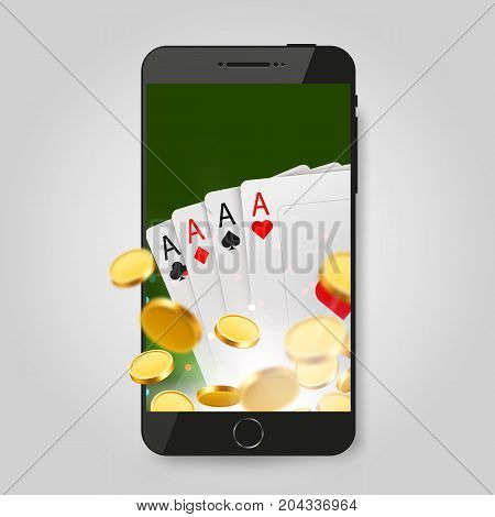 Mobile phone with cards and coins. Online casino, poker concept. Vector illustration