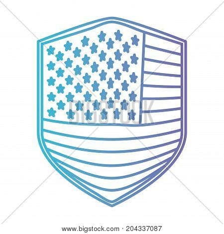 badge of flag united states of america in color gradient silhouette from purple to blue vector illustration