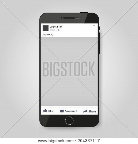 Realistic Modern Phone with social network post frame. Vector illustration