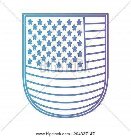 shield with flag united states of america in color gradient silhouette from purple to blue vector illustration