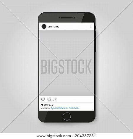 Realistic Modern Phone with social network photo frame. Vector illustration