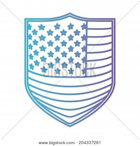 badge with flag united states of america in color gradient silhouette from purple to blue vector illustration