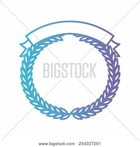olive branches forming a circle with ribbon thick on top in color gradient silhouette from purple to blue vector illustration