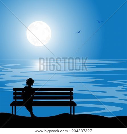 vector illustration of woman on bench in the night