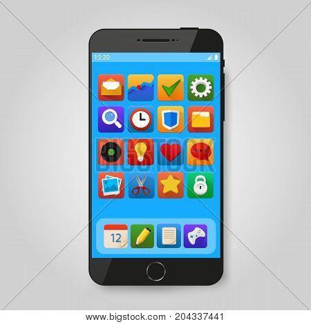 Black mobile smart phone with app icon. Smartphone mobile application presentation or portfolio mockups. Vector illustration