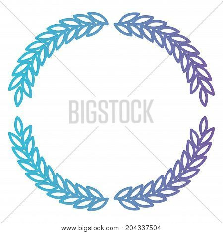 arch of leaves in set double in color gradient silhouette from purple to blue vector illustration
