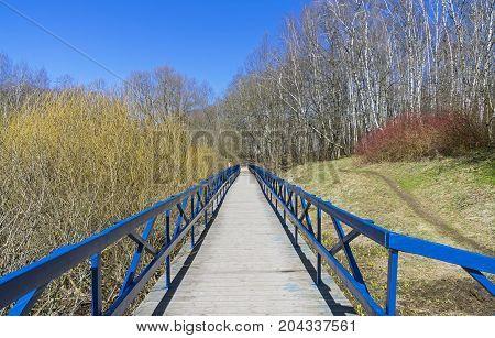 Wooden Footbridge Over The Marshy Ravine.