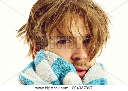 Man With Tired And Sleepy Face Expression And Messy Hair