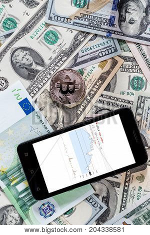 Dollars, Euros, Bitcoin And Mobile Phone. Cocept.