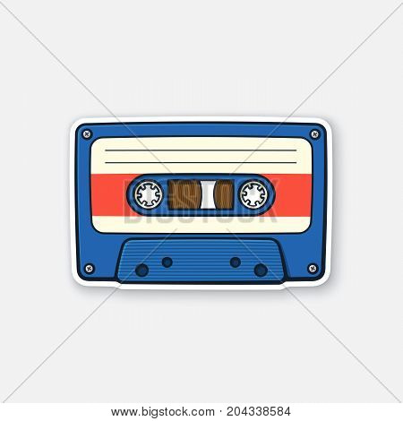 Vector illustration. Retro audio cassette. Analog media for recording and listening to stereo music. Old-fashioned tape cassette. Sticker in cartoon style with contour. Isolated on white background
