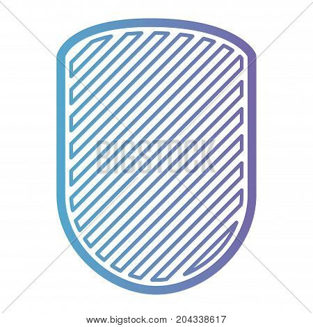 rounded shield with striped in color gradient silhouette from purple to blue vector illustration