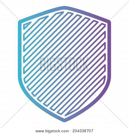 shield with striped in color gradient silhouette from purple to blue vector illustration