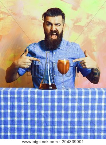 Brutal Caucasian Hipster With Alcohol Cocktail And Flask