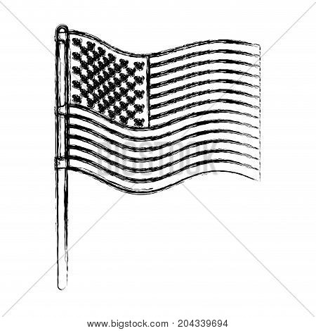 flag united states of america in pole waving in blurred silhouette vector illustration vector illustration