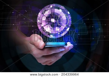 Hand holding smartphone with digital business hologram. Communication concept