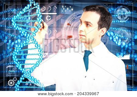 Young male doctor on abstract medical city background. Medicine and future concept