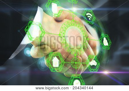 Side view and close up of handshake with abstract digital business network hologram. Teamwork and technology concept. Double exposure