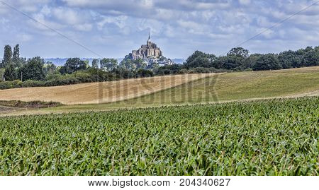 Remote view of the Mont Saint Michel Abbey in Normandy France