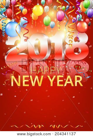 Happy New Year 2018 bright red colored vertical greeting card with 3D glossy numbers and balloons. Vector template