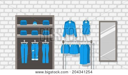 Jeans clothes shop indoor interior. Flat vector background. Women casual outfit store. Denim garments hanging on hanger rack. Cotton pants lie on shelves. Large mirror on a brick wall